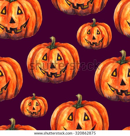 Seamless pattern with watercolor pumpkins on purple background. Jack-o'-lantern. Halloween