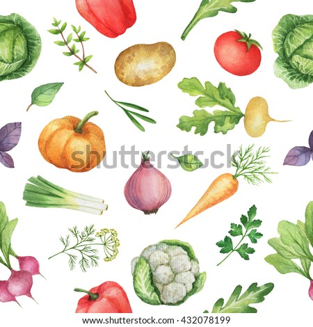 Seamless pattern with watercolor vegetables.  Hand drawn food texture with radishes, peppers, potatoes, cabbage, turnips, onions, carrots, tomato, cucumber, cilantro, Basil, arugula, parsley. - stock photo