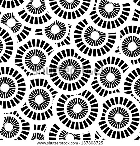 Seamless pattern with white and black circles - stock photo