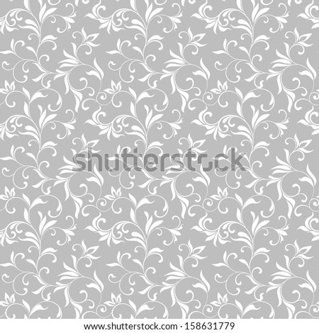 Seamless pattern with white flowers on a gray background - stock photo