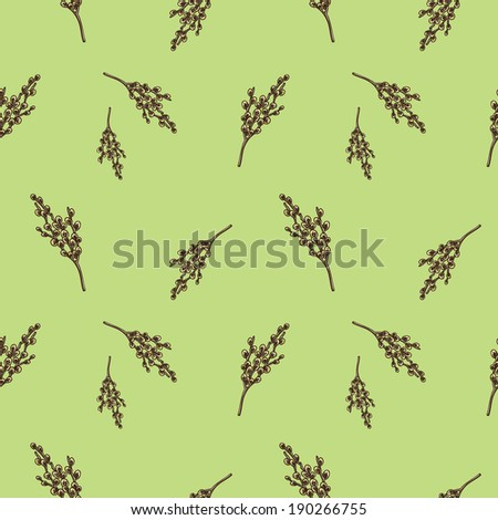 Seamless pattern with willow branches. Nature background concept. Sketch element for nature spring design.