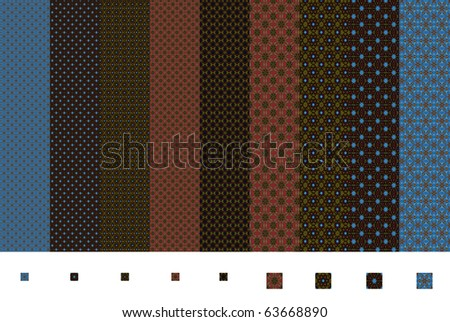 Seamless patterns in the style of boxer shorts. All were created from the same photo of a hot air balloon. - stock photo