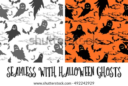 Seamless Patterns, Symbols Halloween Holiday, Ghosts, Bats, Clouds Grey and Black Silhouettes on White and Orange Background.