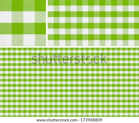 Seamless picnic pattern 1500x1500 with samples. Good for green checkered tablecloth creation of any size. - stock photo