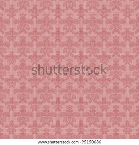 Seamless Pink Damask Background Wallpaper - stock photo
