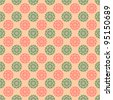 Seamless Pink & Green Floral Medallion Background Wallpaper - stock photo