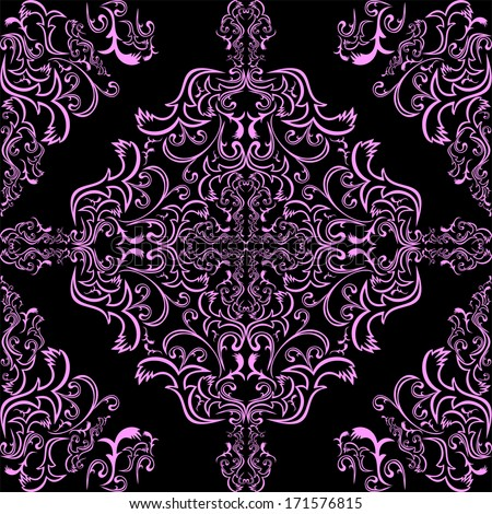 Seamless pink ornamental Pattern on a black Background. Raster version. - stock photo