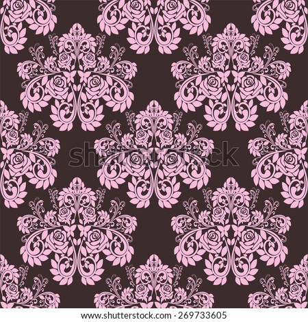 Seamless pink ornate Wallpaper - Ornament with roses. Raster version. - stock photo