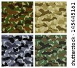 Seamless Pixel Camouflage Patterns Set Background. See also vector version - stock photo