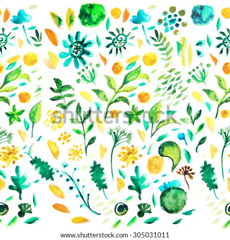 Seamless plants  pattern. Floral decorative illustration. Watercolor drawing floral seamless background. Natural RASTER design elements. - stock photo