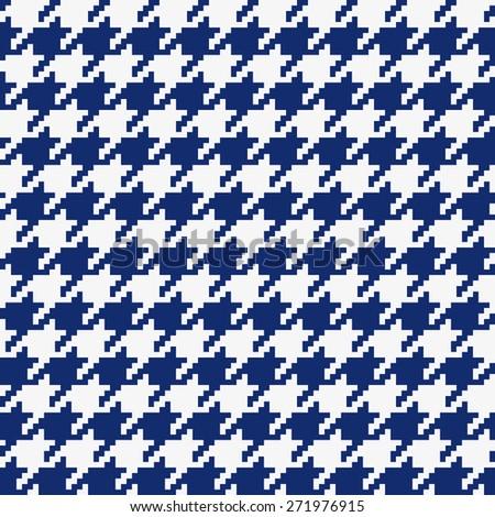 Seamless porcelain indigo blue and white classical retro pixel houndstooth pattern - stock photo