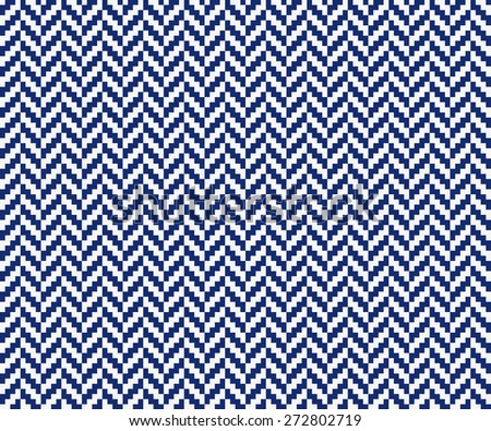 Seamless porcelain indigo blue and white vintage pixel herringbone pattern - stock photo