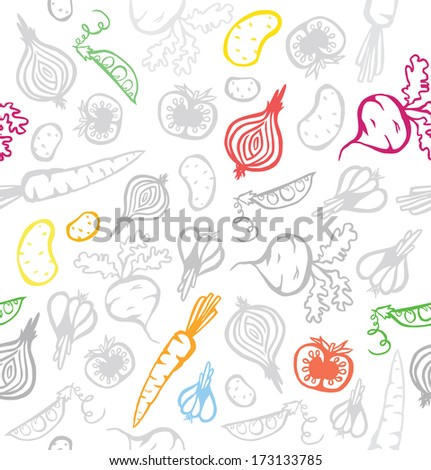 Seamless Pretty Vegetable Background - stock photo