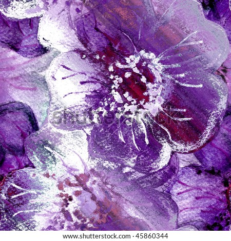 Seamless Purple Flowers Watercolor Art - stock photo