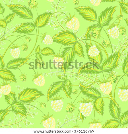 Seamless raspberry pattern. Cute hand drawing raspberry background in yellow green tone. For cards, invitations, wedding or baby shower albums, backgrounds, wallpapers, arts and scrapbooks. - stock photo