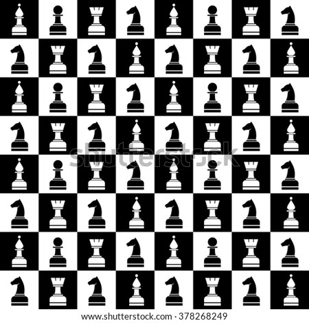 Seamless raster chaotic pattern with black and white chess pieces. Series of Gaming and Gambling Patterns.
