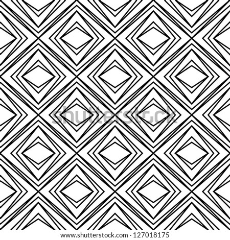 Seamless raster geometric rhombus pattern black and white - stock photo