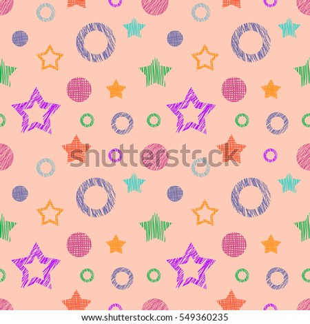 Seamless raster geometrical pattern with stars, circles. Pink endless background with  hand drawn textured geometric figures. Graphic  illustration Template for wrapping, web backgrounds, wallpaper.