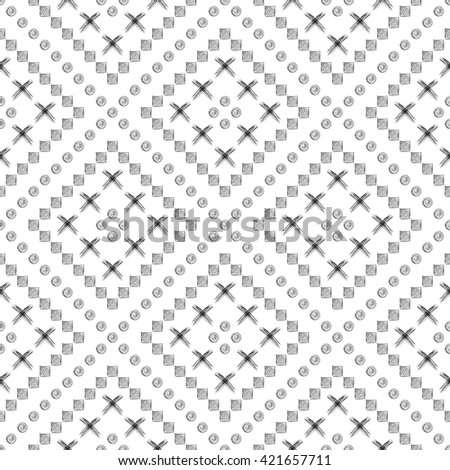Seamless raster pattern. Black and white geometrical background with hand drawn circles, cross and lines. Simple design. Series of Hand Drawn Simple Geometrical Patterns.