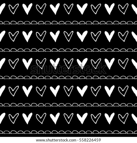 Seamless raster pattern. Black and white geometrical background with hand drawn little decorative elements.Simple design. Graphic illustration. Template for wrapping, background wallpaper cover
