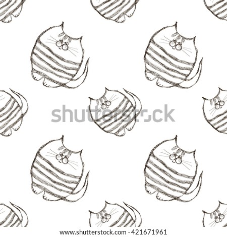Seamless raster pattern. Cute black and white background with hand drawn cats. Series of Cartoon, Doodle, Sketch and Scribble Seamless  Patterns. - stock photo