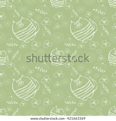 Seamless raster pattern. Cute green background with hand drawn cats and flowers. Series of Cartoon, Doodle, Sketch and Scribble Seamless Patterns. - stock photo