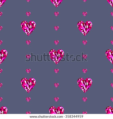 Seamless raster pattern, symmetrical background with bright pink gemstones in the shape of hearts. - stock photo