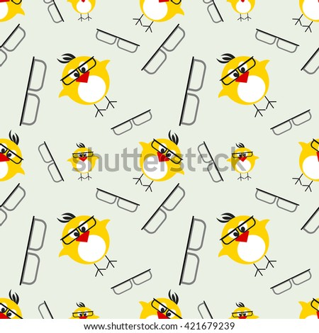 Seamless raster pattern with animals, cute background with chikens with glasses. Series of Animals and Insects Seamless Patterns. - stock photo