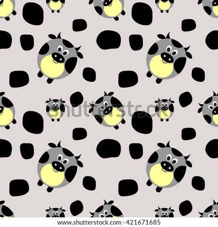 Seamless raster pattern with farm animals. Cute background with comic cows and spots. Series of Animals and Insects Seamless Patterns.  - stock photo