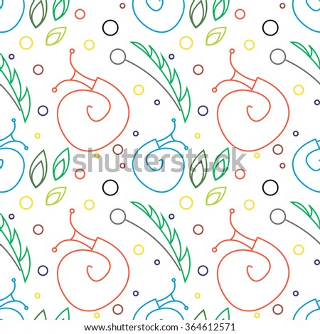 Seamless raster pattern with insects, chaotic colorful background with snails, leaves and dots. - stock photo