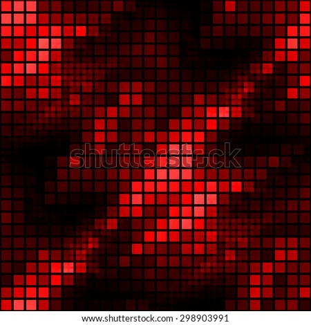 Seamless red and black mosaic hexagonal fire illustration background