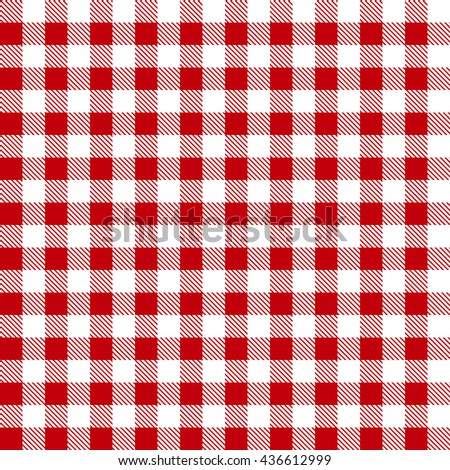 Seamless red and white tablecloth pattern - stock photo