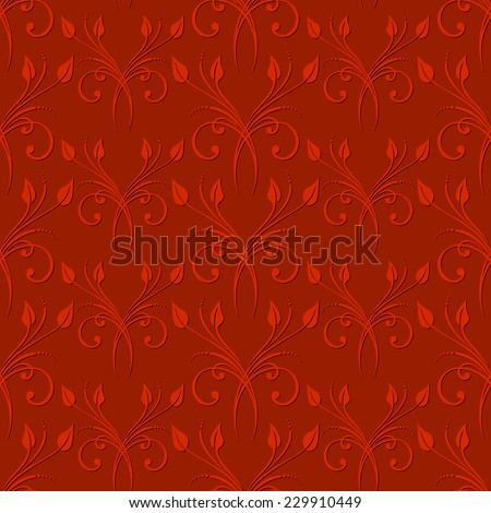Seamless red background with vintage floral pattern. Raster version. - stock photo