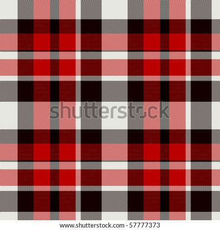 Seamless red plaid tartan cloth background or texture - stock photo