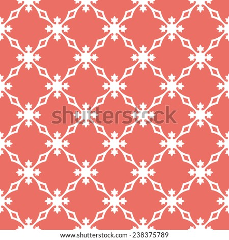 Seamless red vintage revival geometric pattern - stock photo