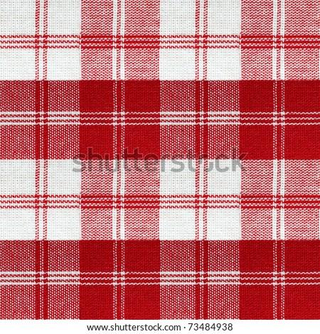 seamless red white checkered retro picnic table cloth - stock photo