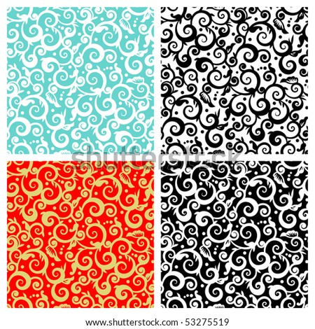 Seamless (repeatable) decorative floral scrolls patterns ( for vector EPS see image 53275516 )