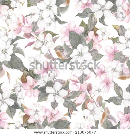 Seamless repeated floral pattern - pink cherry (sakura) and apple flowers. Watercolor - stock photo