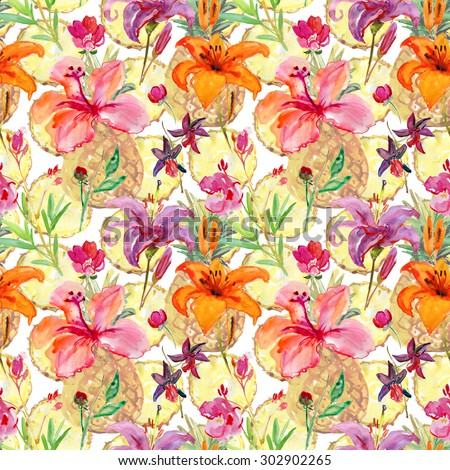Seamless Repeating Background Pattern. Flowers and fruits, watercolor illustration - stock photo