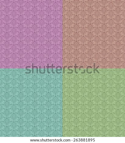 Seamless Repeating Damask Floral Wallpaper Pattern a choice of pastel colors - stock photo