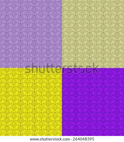Seamless Repeating Damask Floral Wallpaper Pattern in Purple and Yellow - stock photo