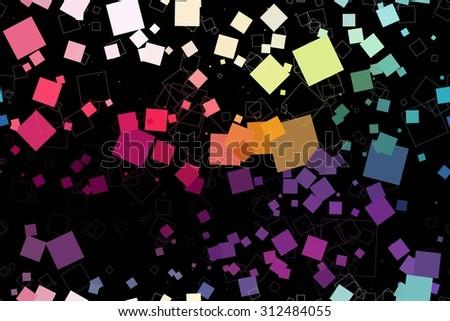 Seamless retro geometric pattern, seamless pattern of squares on a black background. Raster version - stock photo