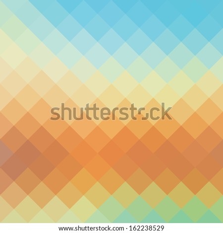 Seamless Retro Geometric Pattern. Texture with triangles, rhombs.Mosaic. Abstract   pattern, waves background  - stock photo