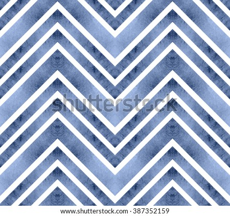 Seamless retro geometric pattern with zigzag lines. Serenity chevron stripes. Watercolor background. in pastel colors. - stock photo