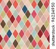 Seamless retro harlequin background - stock vector