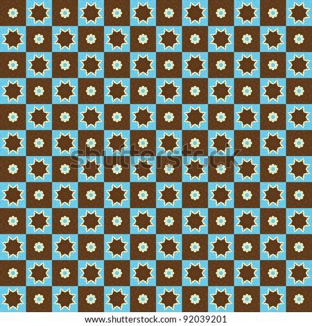Seamless Retro Pattern Stars and Flowers Background - stock photo