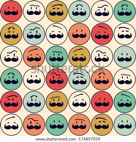 Seamless retro pattern. Texture with funny faces.Seamless pattern can be used for wallpaper, pattern fills, web page background,surface textures. Gorgeous seamless background - stock photo