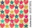 Seamless retro pattern. Texture with hearts and stars. On crumpled paper background. - stock photo