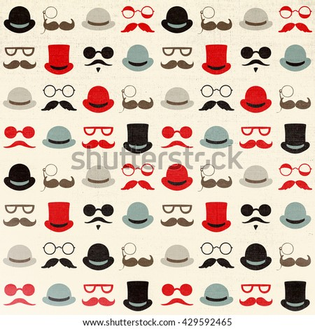 Seamless retro pattern with faces in hats. Vintage stile - stock photo