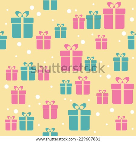 Seamless retro pattern with gifts. Raster version - stock photo